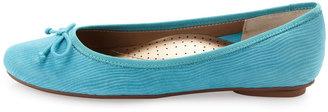 Neiman Marcus Savvy Lizard-Embossed Ballerina Flat, Turquoise