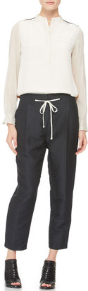 3.1 Phillip Lim Pleated Peg Pants with Drawstring, Black/Oatmeal