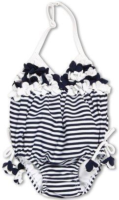 Kate Mack Seaside Petals Bubble Swimsuit (Infant) (Navy Blue) - Apparel