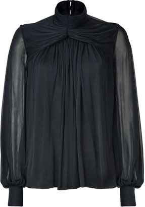 Plein Sud Jeans Black Draped Top with Sheer Sleeves