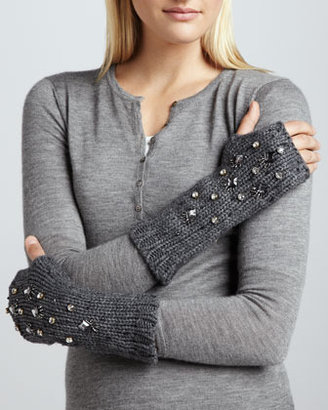 Kate Spade Embellished Knit Hand Warmers, Heather Gray