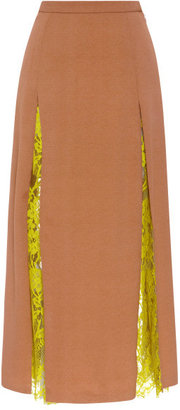 Wes Gordon Pleated Skirt With Vine Lace Insets