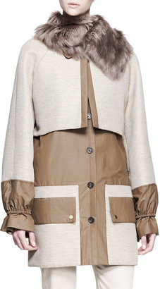 The Row Two-Tone Alpaca Fur-Collar Coat