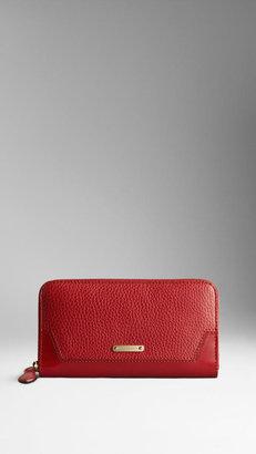 Burberry Grainy Leather Ziparound Wallet