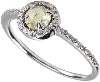Crislu Ring, MicroLuxe Platinum over Sterling Silver Green Amethyst and Clear Cubic Zirconia (7/8 ct. t.w.)