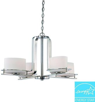 Loren Illumine 4-Light Polished Nickel Chandelier with Oval Frosted Glass Shade
