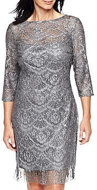 JCPenney Long-Sleeve Lace Dress with Fringe