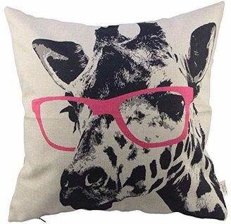 HOSL Animal Style Giraffe Pink Glasses Sofa Simple Home Decor Design Throw Pillow Case Decor Cushion Covers Square 1818 Inch