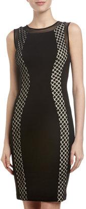 Jax Swiss Dot & Scuba Jersey Dress, Black