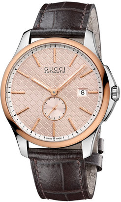 Gucci Men's Swiss Automatic G-Timeless Brown Leather Strap Watch 40mm YA126314 $3,300 thestylecure.com