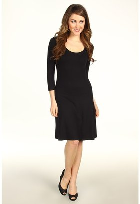 Karen Kane 3/4 Sleeve A-Line Dress (Black) - Apparel