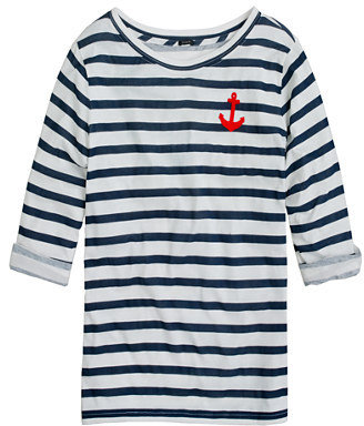 Lee Elbow-sleeve tee in stripe with anchor