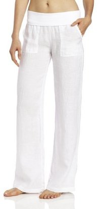 So Low SOLOW Women's Linen Fold Over Pant
