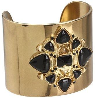 House Of Harlow Kaleidoscope Fingerpick Cuff (Gold/Black Stones) - Jewelry
