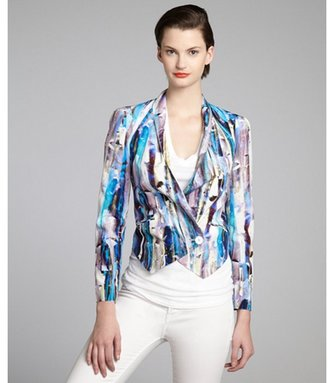 Rebecca Minkoff cerulean and mauve printed silk one button 'Becky' jacket