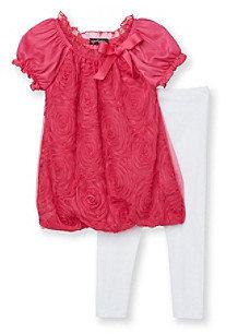 Tempted Girls' 4-6X Fuchsia/White Floral Leggings Set