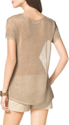 MICHAEL Michael Kors Open-Stitch Shimmery Sweater