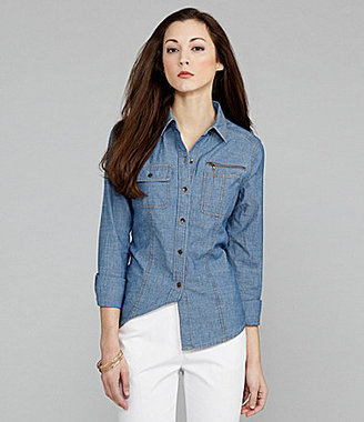 Jones New York Signature Button-Front Chambray Shirt