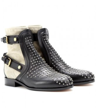 Chloé Studded leather and suede ankle boots