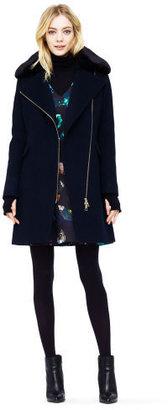Club Monaco Josette Wool and Faux Fur Coat