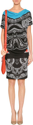Etro Black-Multi Paisley Print Jersey Dress