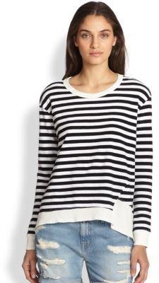 Wilt Asymmetrical-Hem Striped Cotton Sweatshirt