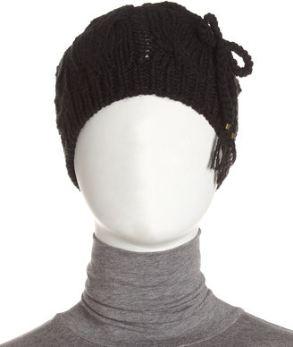 Hat Attack Tie-Bow Cable Beanie, Black