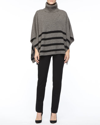 Eileen Fisher Wool Striped Turtleneck Poncho, Silk Jersey Long-Sleeve Tee & Slim Ponte Pants, Women's