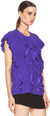 Chloé Silk Ruffle Blouse in Purple