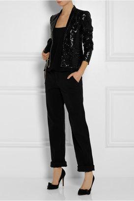 Maje Eyeliner satin-trimmed sequined blazer