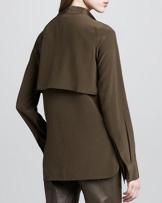 Vince Military-Style Silk Blouse, Oak