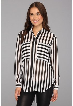 Brigitte Bailey Kefria Blouse (White/Black) - Apparel