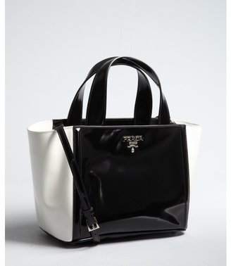 Prada black and white patent leather small convertible tote