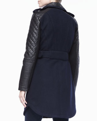 BCBGMAXAZRIA Trench Coat with Leather Sleeves