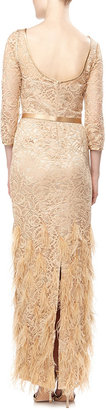 Theia Lace and Feather Scoop-Back Gown, Blonde