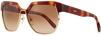 Chloe Universal Fit Dafne Hexagonal Sunglasses, Havana $376 thestylecure.com