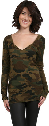 Michael Stars Notched Scoop Neck Top in Army Green
