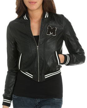 Wet Seal WetSeal Faux Leather Baseball Jacket Black