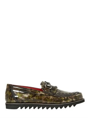 Camo Patent Leather Horse Bit Loafers