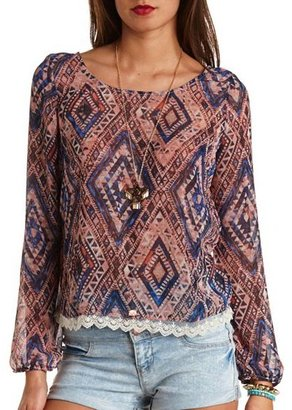 Charlotte Russe Lace Trim Sheer Aztec Print Top