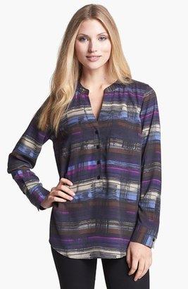 Nexx Collarless Print Silk Blouse