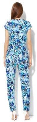 New York & Co. Floral Faux-Wrap Jumpsuit