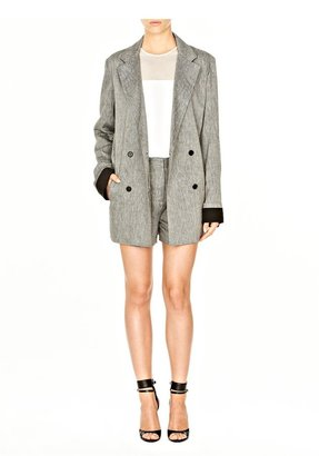 Alexander Wang Linen Two Tone Double Breasted Blazer