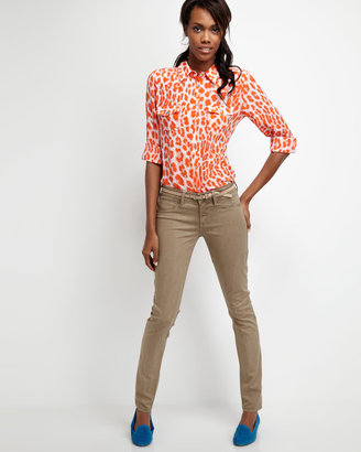 Neiman Marcus Leopard-Print Silk Blouse, Orange