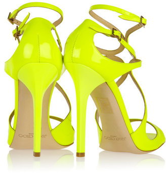 Jimmy Choo Lance neon patent-leather sandals