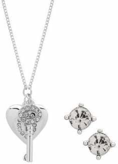 Nine West Heart Key Pendant Necklace Stud Earrings Set