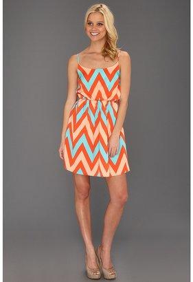 Type Z Kiki Zig Zag Scrunch Waist Dress (Turquoise Multi) Women's Dress