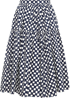 Marni Printed Cotton A-Line Skirt