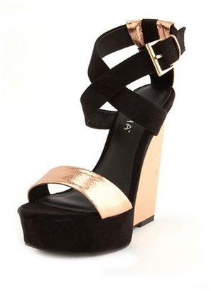 Charlotte Russe Metallic Cutout Wedge Sandal