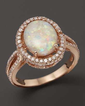 Opal and Diamond Halo Ring in 14K Rose Gold - 100% Exclusive $3,500 thestylecure.com